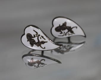 925 - Traditional Thailand Thai SIAM Dance Non Pierce Stud Earrings in Sterling Silver