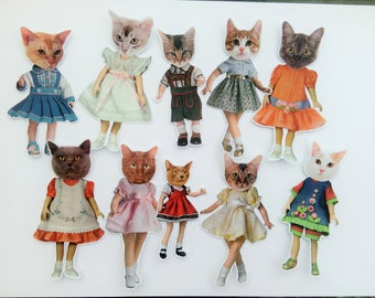 Cat Doll Collage Stickers