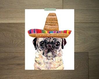 Mexican art print - 8 x 10 - pug art - sombrero - orange and yellow- fiesta - Mexico