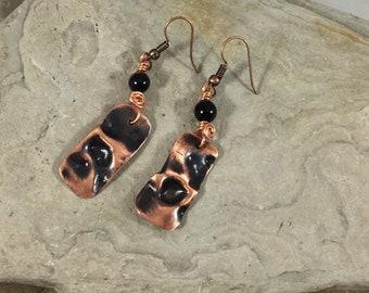 Unusual Earrings, Copper Gemstone Earrings, Obsidian Earrings, Hammered Copper, Air Chased Copper Earrings, Unique Earrings, Non Pierced