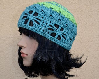 Boho Crochet cap Organic cotton greenery