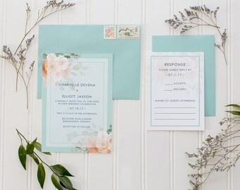 Wedding Invitations, Mint Wedding Invitation, Floral Invitations, Mint Green Wedding, Teal Wedding Invitations
