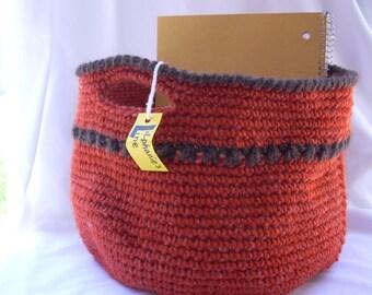 """Orange 8"""" Crochet Basket, Father's Day Gift Basket, Game Storage Bin, Home Office Craft Mail Organizer, Boy Playroom Toy Bin, Boy's Basket"""