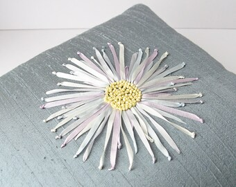 Floral silk pillow, silk ribbon embroidery Chrysanthemum pillow, 12 x 12 silk pillow, ribbon embroidered pillow, decorative pillow