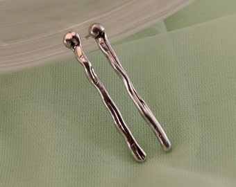 Bar Earrings Minimalist   Asymmetrical Post Earrings   Straight Ear Pin - Fancy   Organic Style   Artisan Earrings   Simple Earrings OOAK