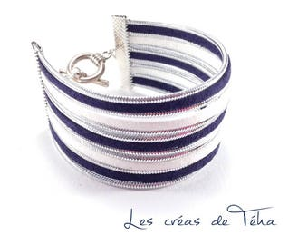 Lovely white cuff, Navy Blue and silver