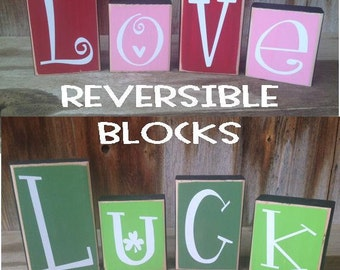 Reversible Valentines and St. patricks day blocks - Love and Luck. wood blocks with vinyl lettering