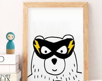 Superhero decor. Illustration. Print. Superhero. Wall art. Art decor. Hanging wall. Printed art. Decor home. Gift idea. Bedroom. APF. Boys