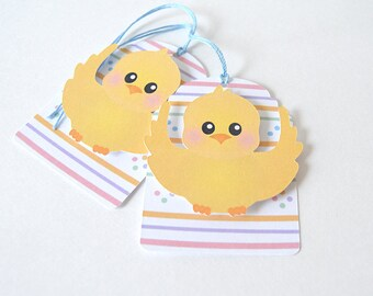 Easter Surprise Tags Set of 10: holiday, gift tag, baby chick, pastels, spring - LRD010TG