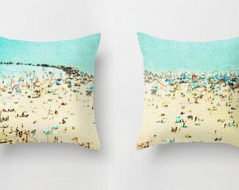 Throw Pillows Set with Insert // Beach Print Decorative Pillows // Beach Print Throw Pillow //Turquoise Throw Pillows - Coney Island Beach