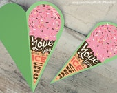 """INSTANT DOWNLOAD cute pink strawberry ice cream love card """"I love you more than Ice Cream printable DIY folded card heart shaped Fathers day"""