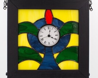 Art Deco Stained Glass Wall Clock Blue Green Yellow Kolor Waves Glass