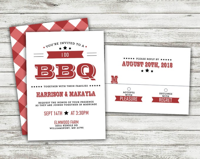 Rustic Wedding Invitation, Country Wedding Invitations, I Do BBQ, Wedding Invitation, Wedding Invite, Woodsy, Lights, Outside Country