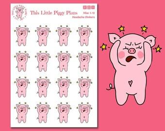 Headache Planner Stickers - Sick Day Stickers - Migraine Stickers - Migraine Tracker - Dizzy - Stars - Planner Stickers - [Misc 1-12]