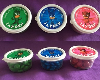 12 Personalized PJ Masks Candy containers / candy cups with lids / party favors