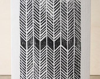 Herringbone Woodcut Greetings Card