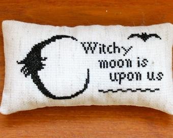 "Mini Primitive Cross Stitch Halloween Pillow- 6""x 3 1/4""- Made to Order"