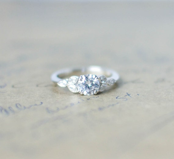 Silver Art Deco Engagement Ring Vintage Wedding Ring