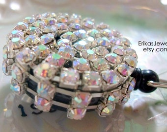 Silver Rhinestone Blinged-Out Badge ID Holder