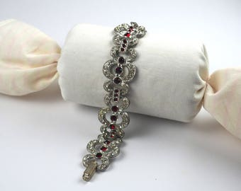 Vintage Bracelet-rhinestones-Art deco-red and clear-1930s-statement bracelet-gift-silver tone-Unsigned jewelry