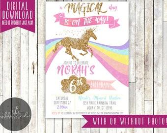 Unicorn Invitation, Glitter Unicorn Invitation, Unicorn Birthday Invitation, Rainbow, Magical, Unicorn Party Invite, Photo - Printable DIY