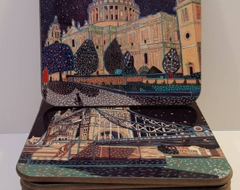 Boxed set of coasters based on London paintings by Richard Friend