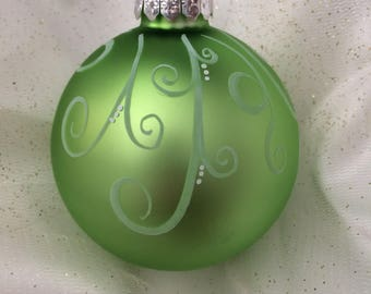 Light Green Hand painted Christmas Ball
