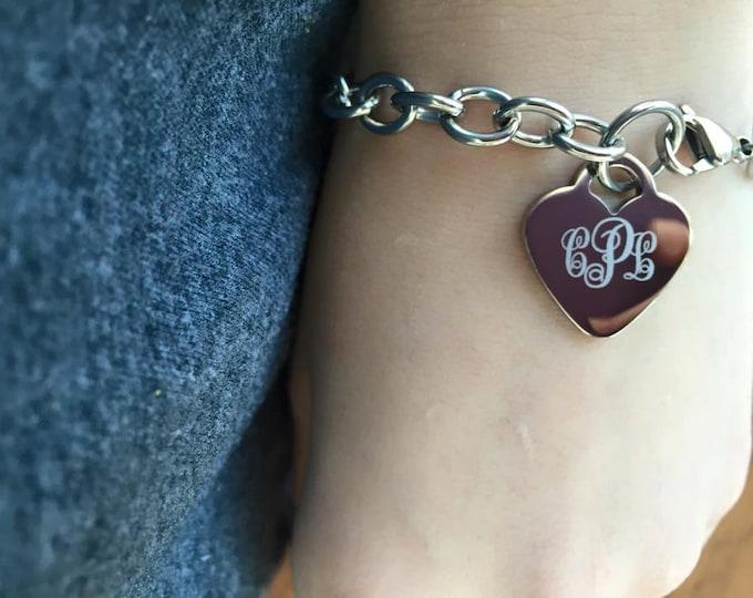 Heart Charm Stainless Steel Curly Monogrammed Engraved Bracelet Anklet
