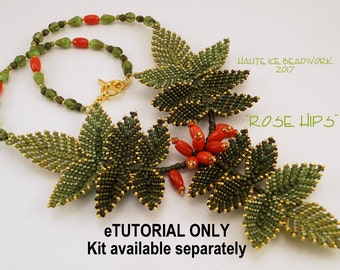 e-TUTORIAL ONLY for Rose Hips Beaded Necklace