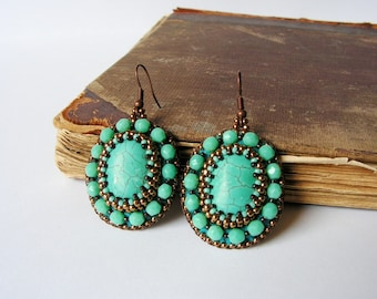 Turquoise Beadwork Earrings Bead embroidery Earrings Beaded Turquoise Earrings Turquoise Copper Ethnic Tribal MADE TO ORDER