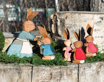 Peter Rabbit Family Playset - Natural Eco Friendly Waldorf Toy
