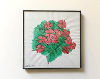 57/100: Roses - original framed watercolor illustration