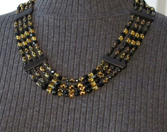 Leopard Necklace: Draped 4-Strand - Fiber Optic, Glass, Crystal, and Bone Beads - NS15