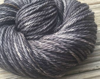 Hand Dyed Bulky Yarn Ghost Ship Gray yarn 100% superwash merino wool 106 yards black charcoal gray grey bulky weight yarn treasure goddess