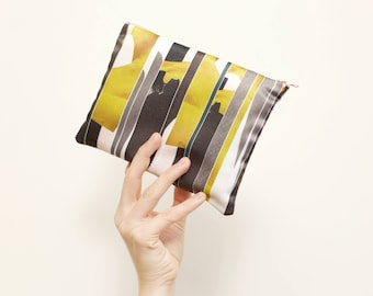 Make Up Bag: Grey and Yellow Panelled Print