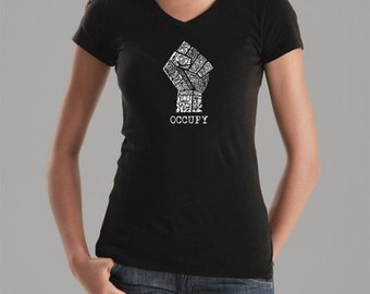 Women's V-Neck T-Shirt - Occupy Wall Street - Created using the words  Fight the Power