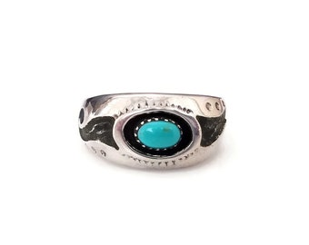Native American Sterling Turquoise Cigar Band - JD Sterling, Sun Ray, Wave Water, Hopi Style, Artisan Jewelry, Rings for Women Men, Size 8.5
