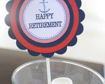Happy Retirement centerpiece--Bon Voyage-you choose color---nautical-beach- shown in blue and red