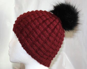 Faux Fur Pom Pom Knitted Hat // Color: Cranberry with Black Pom Pom