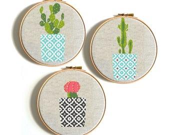 Cactus cross stitch Counted cross stitch pattern Geometric Pots Modern cross stitch Chart Funny cross stitch Easy cross stitch Succulent PDF