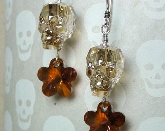 Swarovski Crystal Skull Earrings - Golden Shadow Crystal Skull with Crystal Flower Earrings