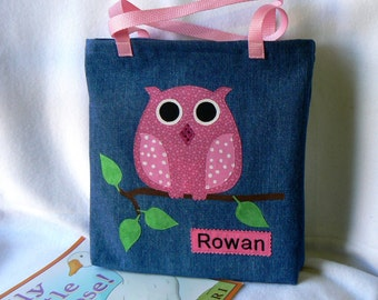 Girls Owl Book Bag|Birthday Party Gift Bag|Personalized Gift Book Bag|Toddler Book Bag|Trick or Treat|Library Book Bag|Preschool Book Bag
