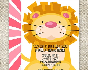 Girl BABY SHOWER Invitations LION Digital diy Printable Personalized - 94550291