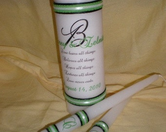 Personalized Unity Candle Set Love Bears All Quote