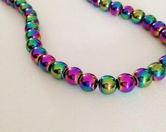 6 colored Hematite, 8 mm, black purple green yellow round beads, non magnetic