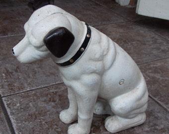 "Superb Hand painted Cast Iron "" HMV His Masters Voice Dog Doorstop & Money Box"