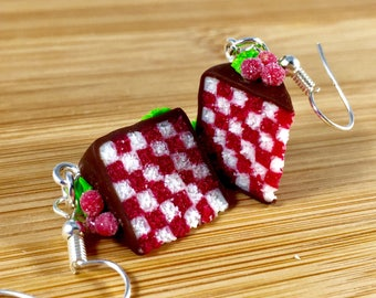 Polymer clay cranberry holiday checker cake jewelry
