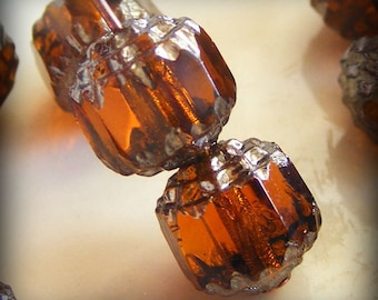 Czech Glass Cathedral Beads 8mm Fire Polish Medium Topaz with Silver (Qty 8) SRB-8FPC-MT