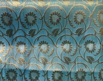 10% OFF One yard of Indian brocade fabric in Pastel blue in a flower and vine pattern/Benarasi brocade/ dress ,costume fabric/ f