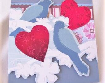VALENTINE Card,Blank Valentine,Lovebird Card,Stationery,HANDMAD Greeting Card,LOVE Note,Wedding Card,Anniversary Card